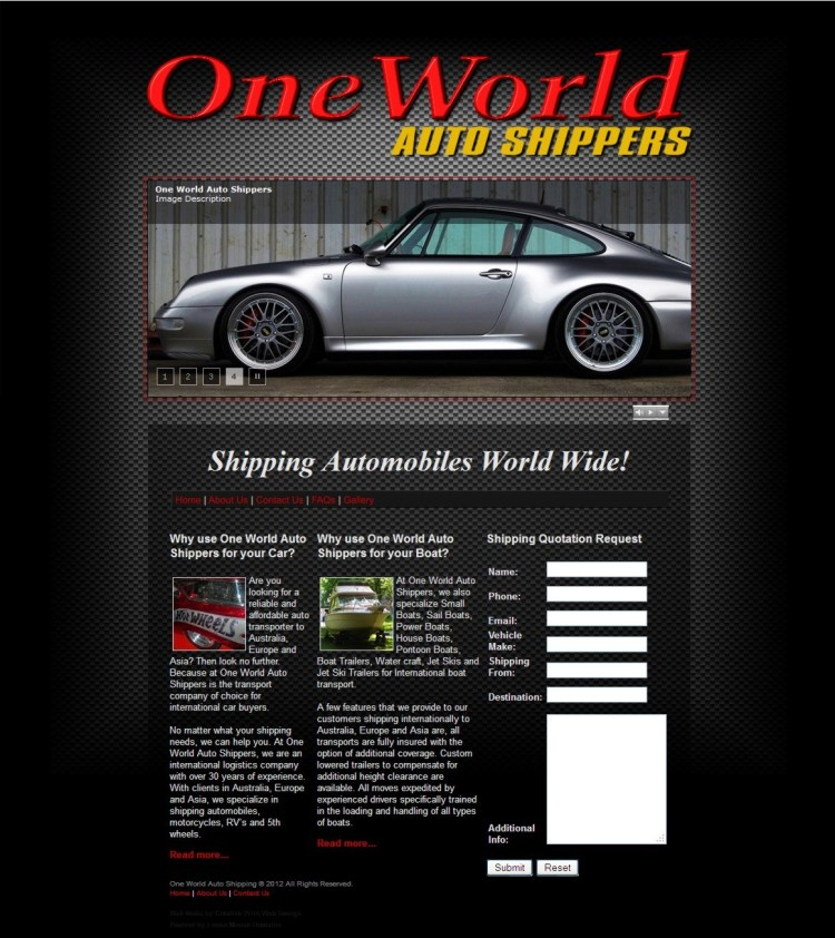 Website Design-One World Auto Shippers-Home Page