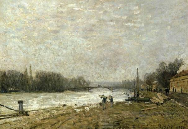 alfred sisley, After the Debacle, the Seine at Pont de Suresnes, 1880, lille, museo delle belle arti