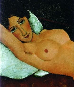 modigliani, nudo sdraiato su cuscino bianco, 1917-18, stoccarda, staatsgalerie
