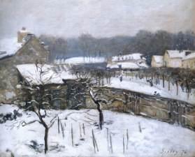 sisley, effetto neve a Louveciennes, 1876, coll. priv.