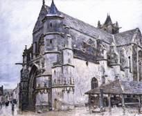 sisley, la chiesa di Moret, mattina di pioggia, 1893, Huntarian Art Gallery, University of Glasgow, Glasgow