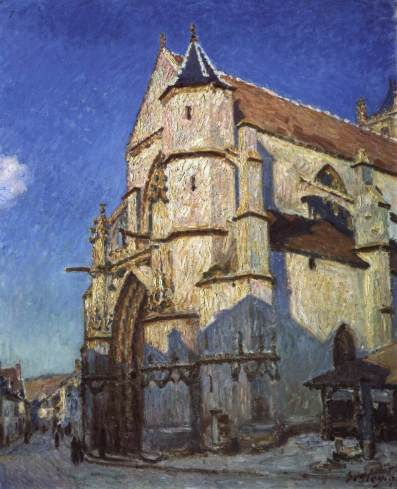 sisley, la chiesa di Moret, sera, 1894, parigi, musee du petit palais