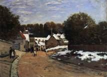 sisley, prima neve a louveciennes, 1870-71, boston, museo of fine arts