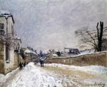 sisley, Rue Eugène Moussoir a Moret, inverno, 1876, rouen, museo delle belle arti