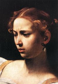 caravaggio, giuditta e oloferne, 1598, roma, galleria nazionale d'arte antica - dett.