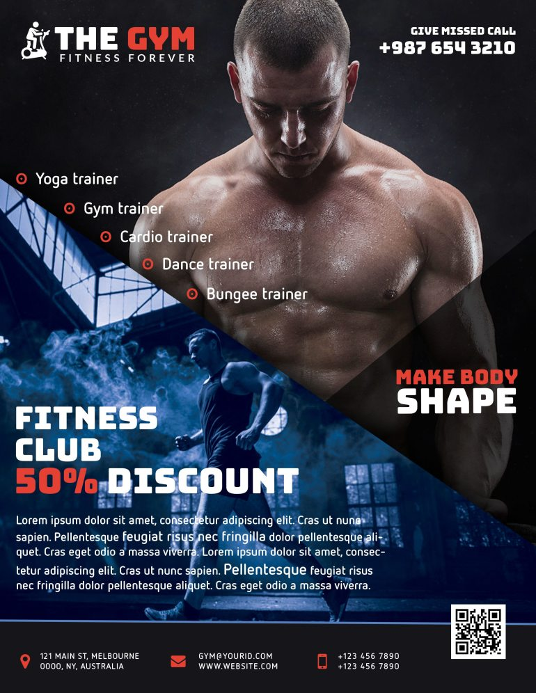 The Gym Fitness Flyer Freebie PSD Red
