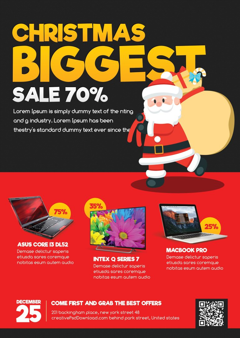 Christmas Sale Flyer Free PSD