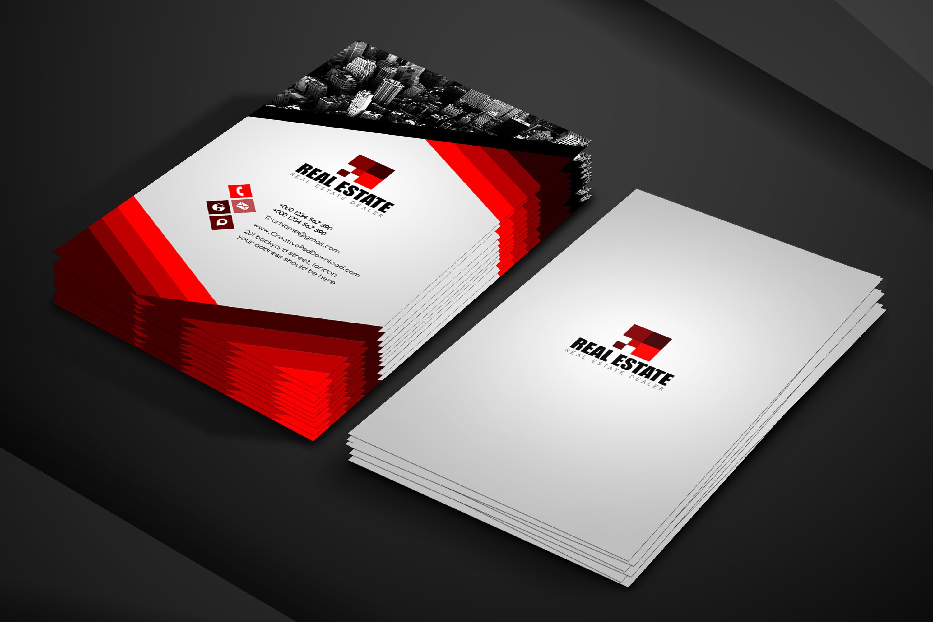 Real Estate Business Card Free PSD Template With Visiting Card Psd Template Free Download