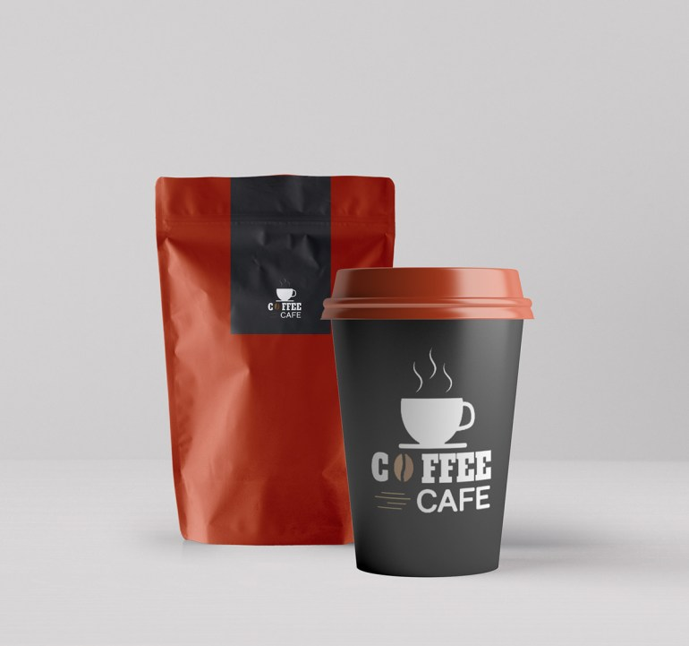 Coffee Packaging and Paper Cup Mockup