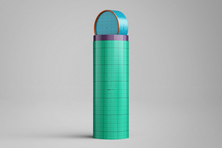 Paper Tube with Lid Packaging Mockup
