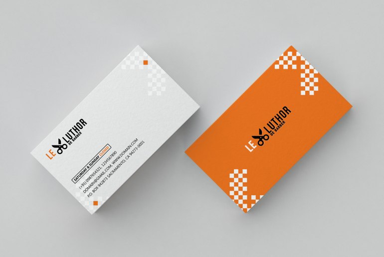 Barber and saloon business card psd