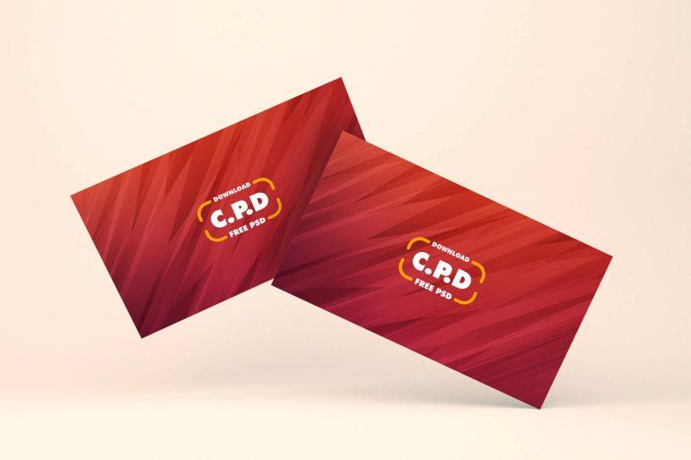 Business Card Floating Mockup Free PSD