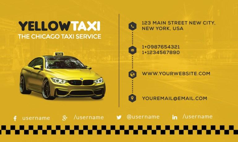 texi service business card psd