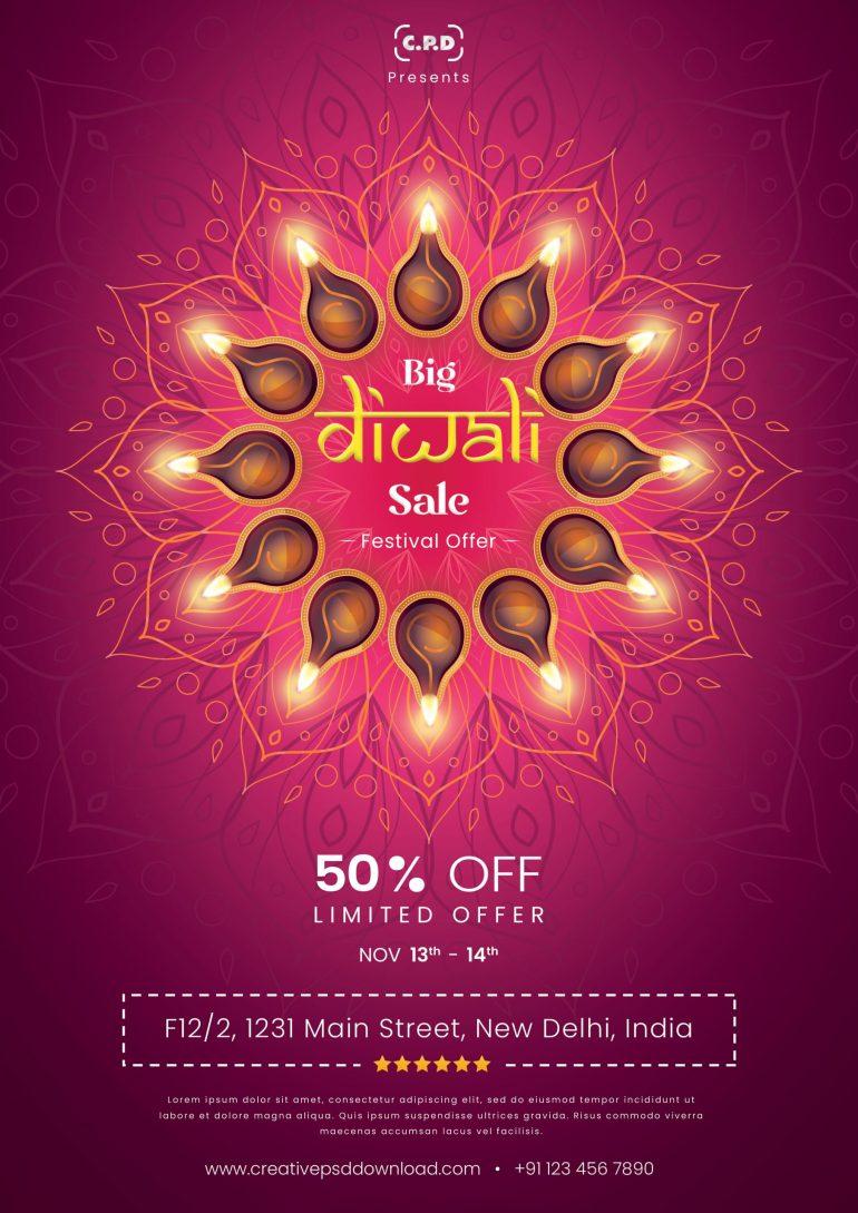 diwali flyer free psd