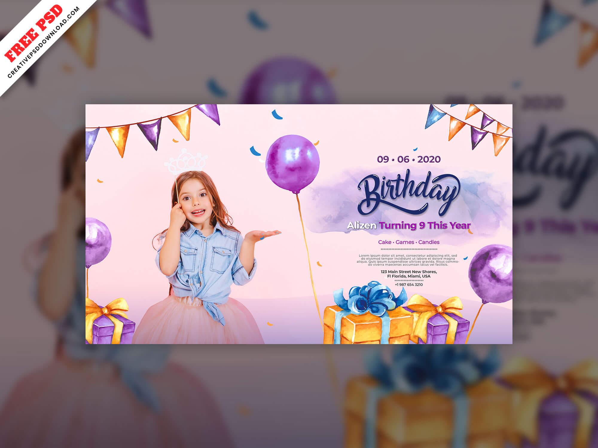 Birthday Invitation Card Freebie Psd Free Download