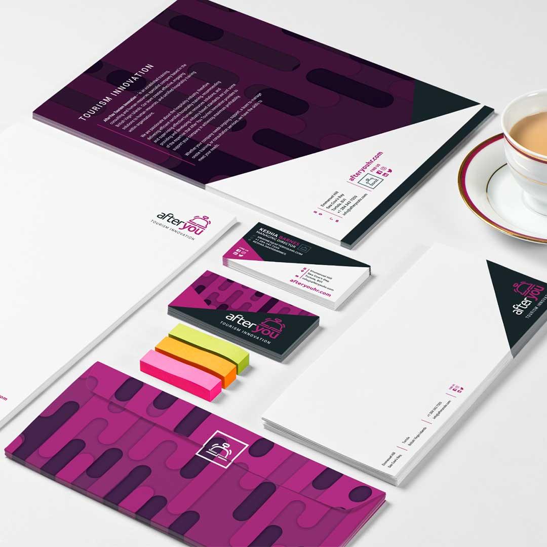 Business Letterhead, envelope, booklet, and business card stationery design set.