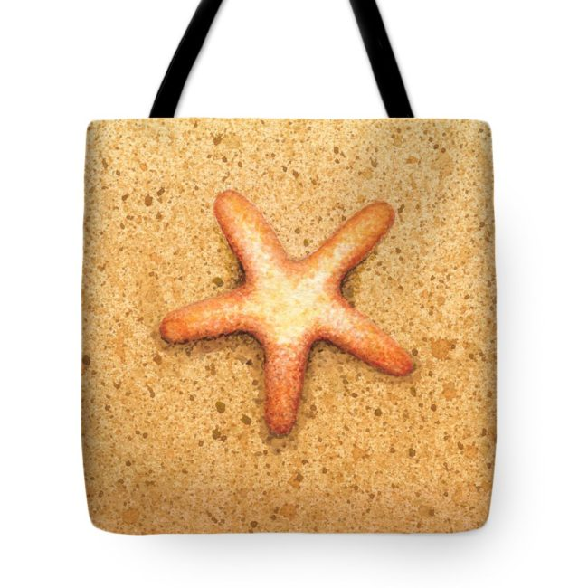 Custom tote bag with starfish image by Katherine Young
