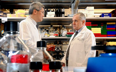 2 scientists talking in the lab