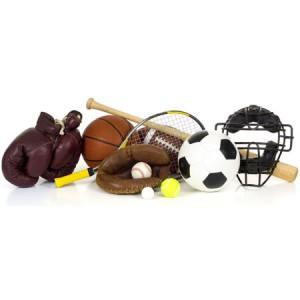 sport paraphanalia like footbal,bat,soccor ball, boxing gloves