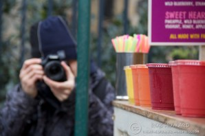 Simon, photographing a line of smoothies. | 1/500sec, f/5.6, ISO 640, 135mm