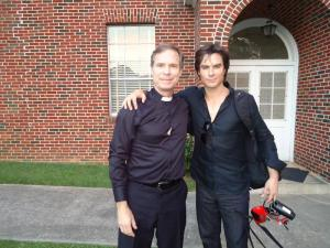 "Ken's Student Randall Taylor and Ian Somerhalder after a day of shooting ""The Vampire Diaries"""