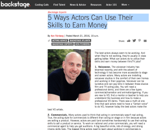 Backstage 5 ways actors can earn money
