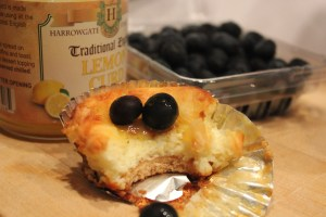 Lemon curd cheesecake cup with fresh blueberries