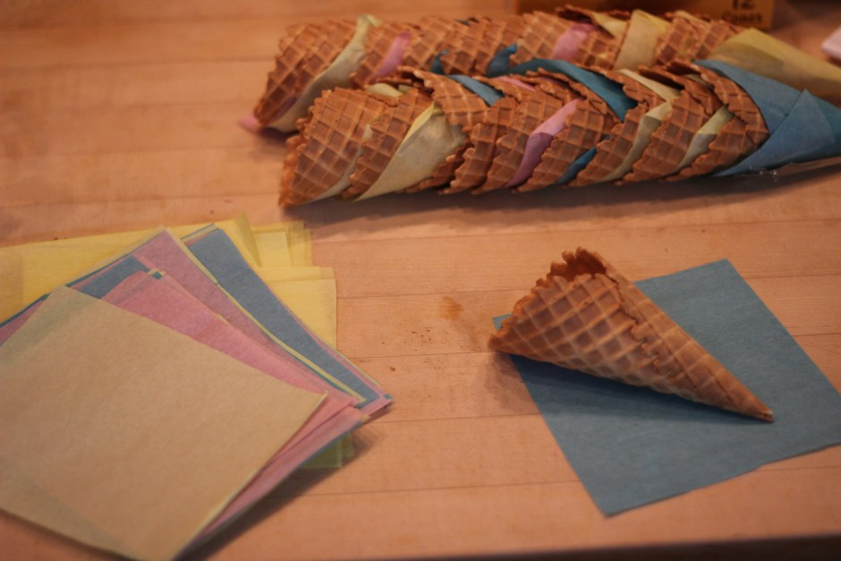 Wrapping the cones for the popcorn