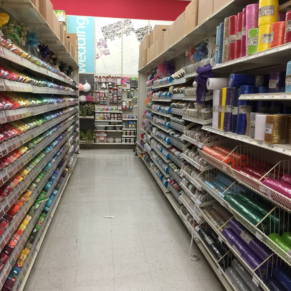 Aisle of ribbon at Michael's.