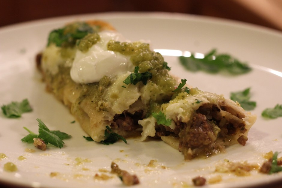 Delicious bison enchiladas with salsa verde