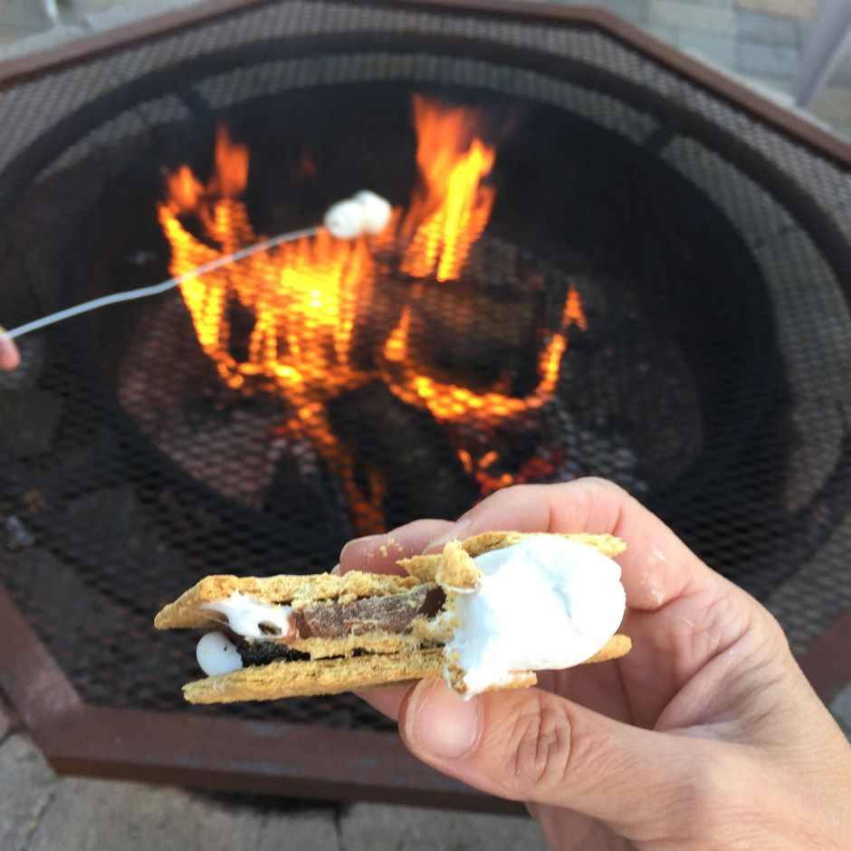 Gooey s'mores on the fire pit