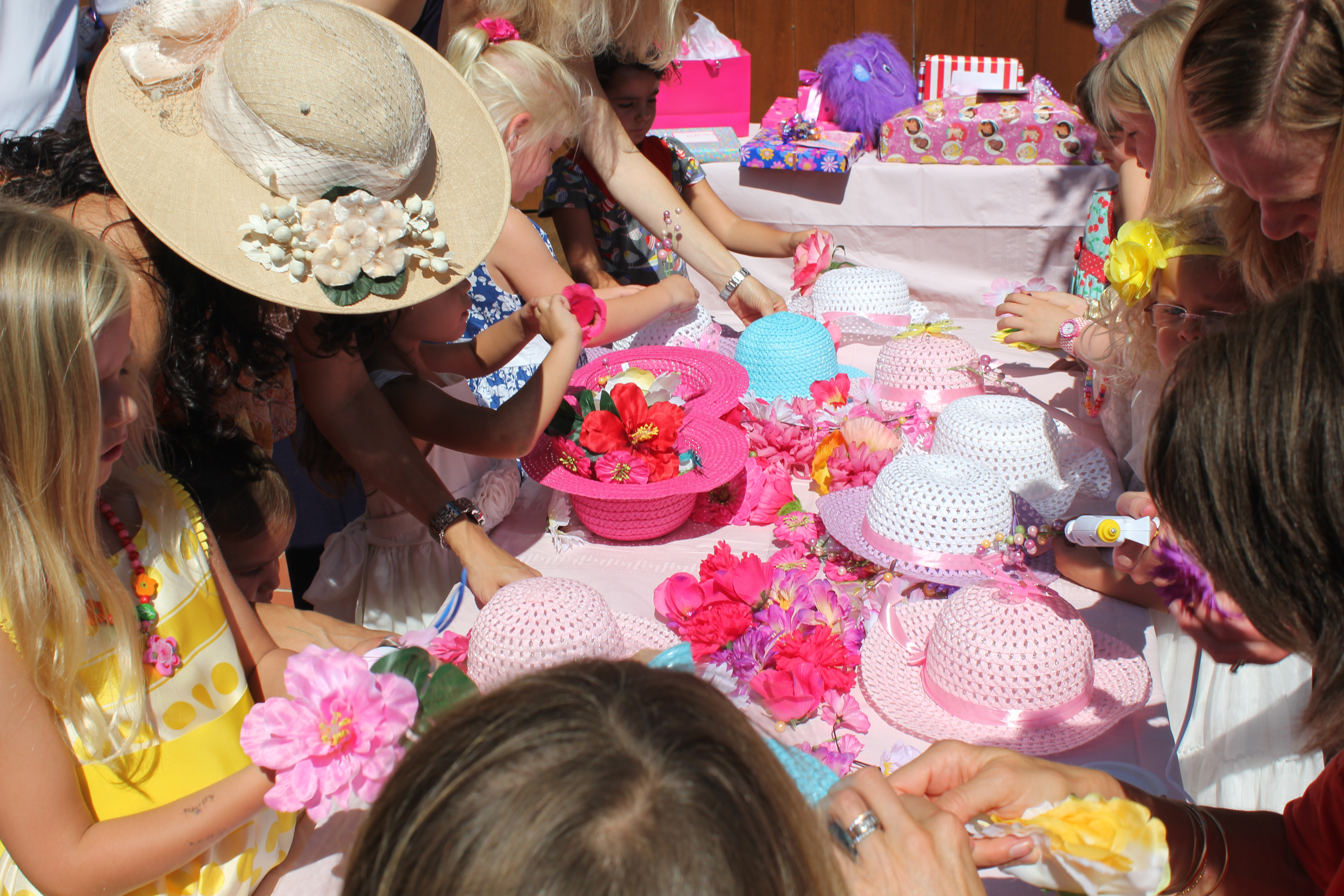 Decorating the fancy girl tea party hats 8a956875f82e