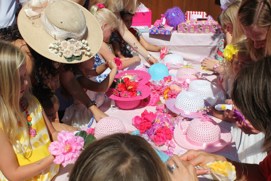 Decorating the fancy girl tea party hats