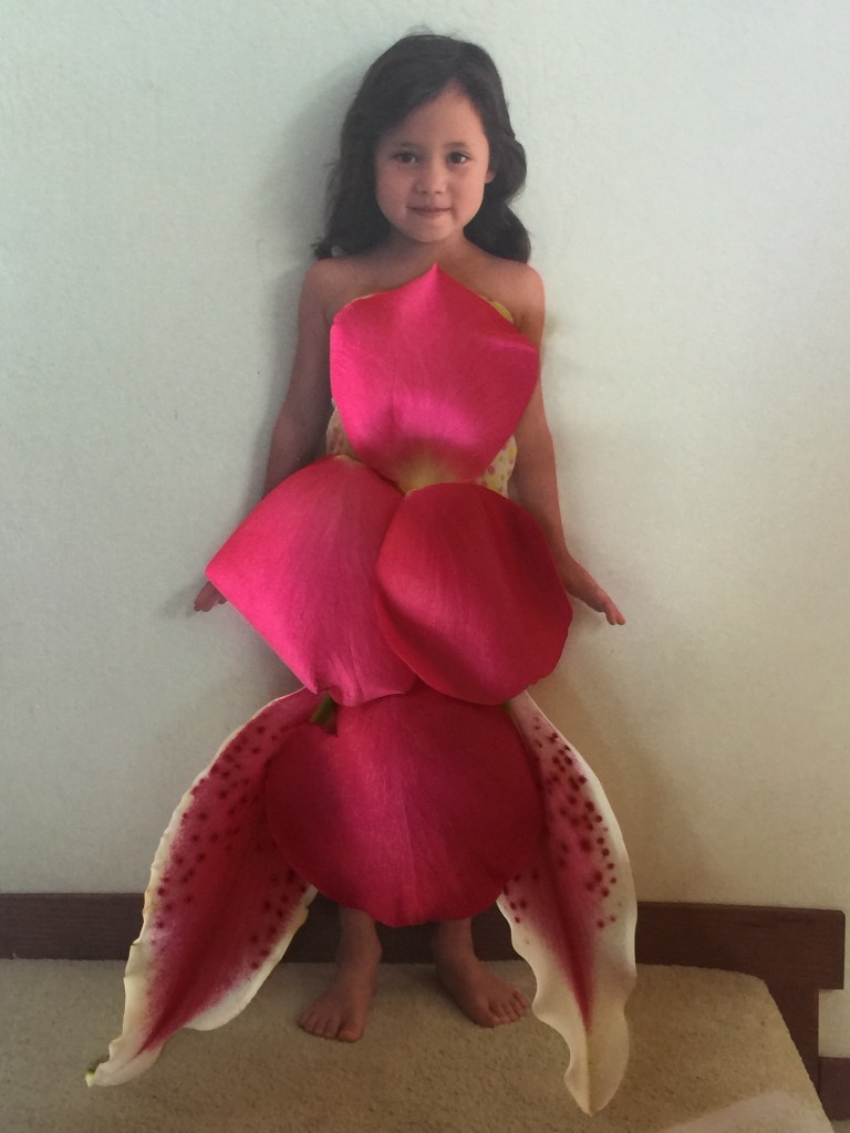 Petal dress with rose petals and stargazer lily petals
