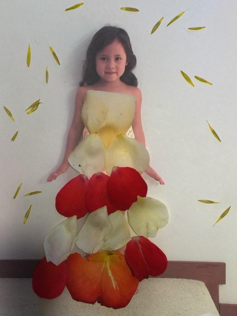 Petal Dresses with different color rose petals