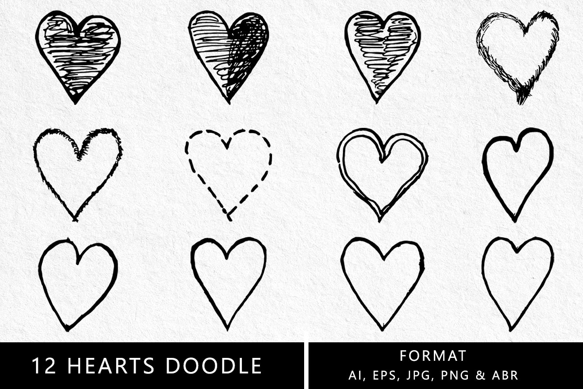 12 Free Hearts Doodle Clipart