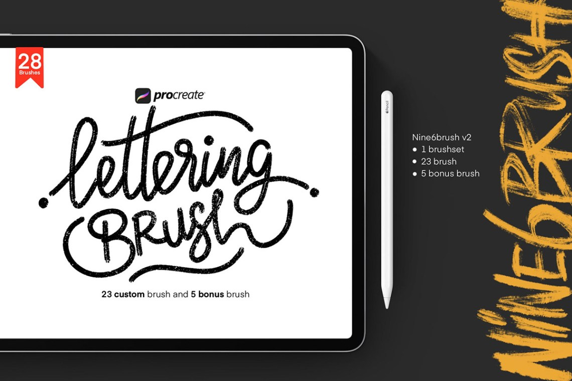 Download Free Procreate Lettering Nine6brush Ver. 2 ~ Creativetacos