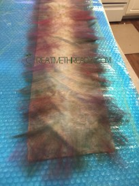 roving on eco dyed silk scarf