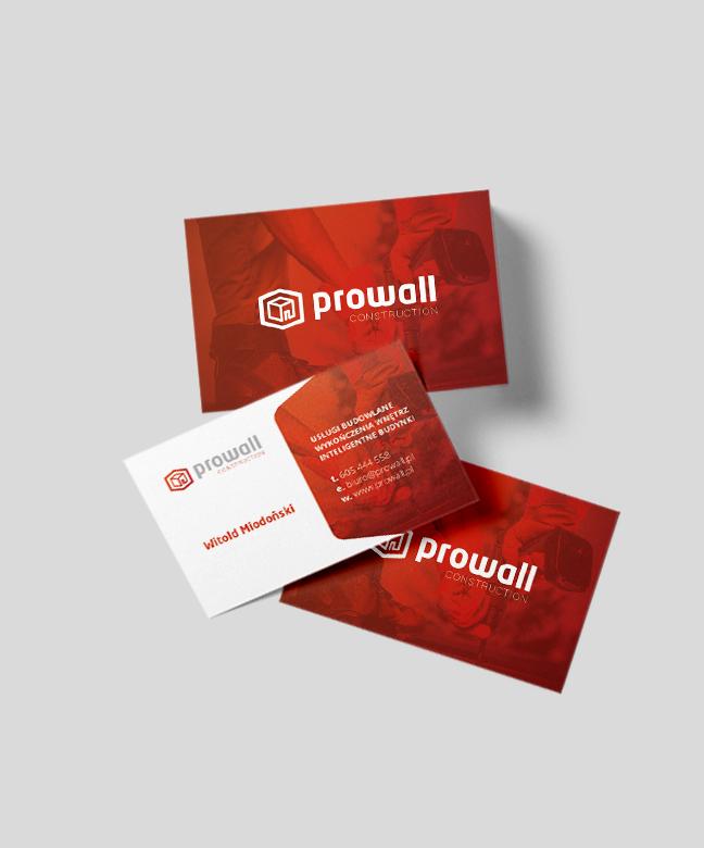 Realizacja wizytówek dla firmy Prowall.