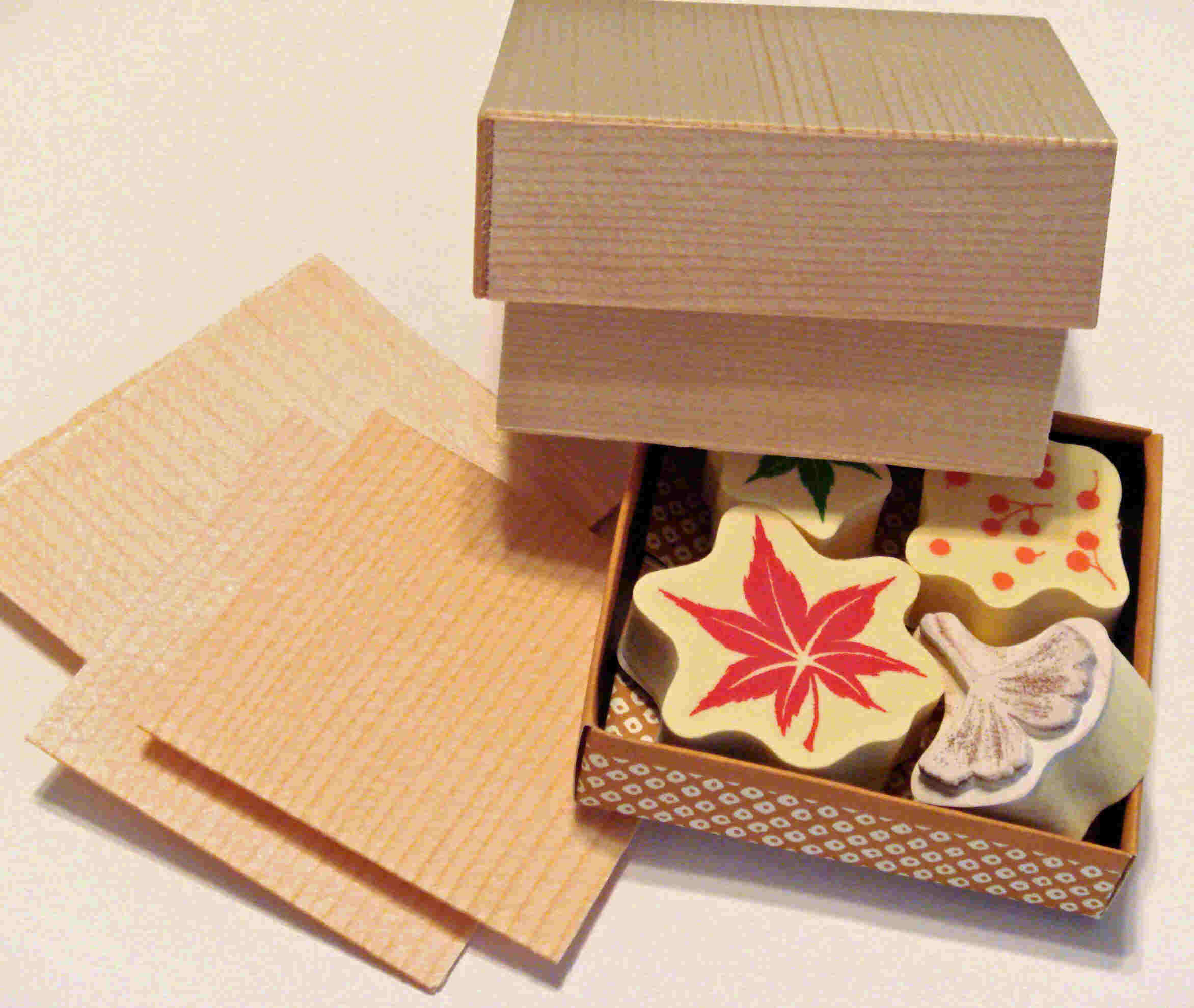 Here is one look at the Edo Ori Bako set along with the wood tiles. The stamps are die-cut foam.