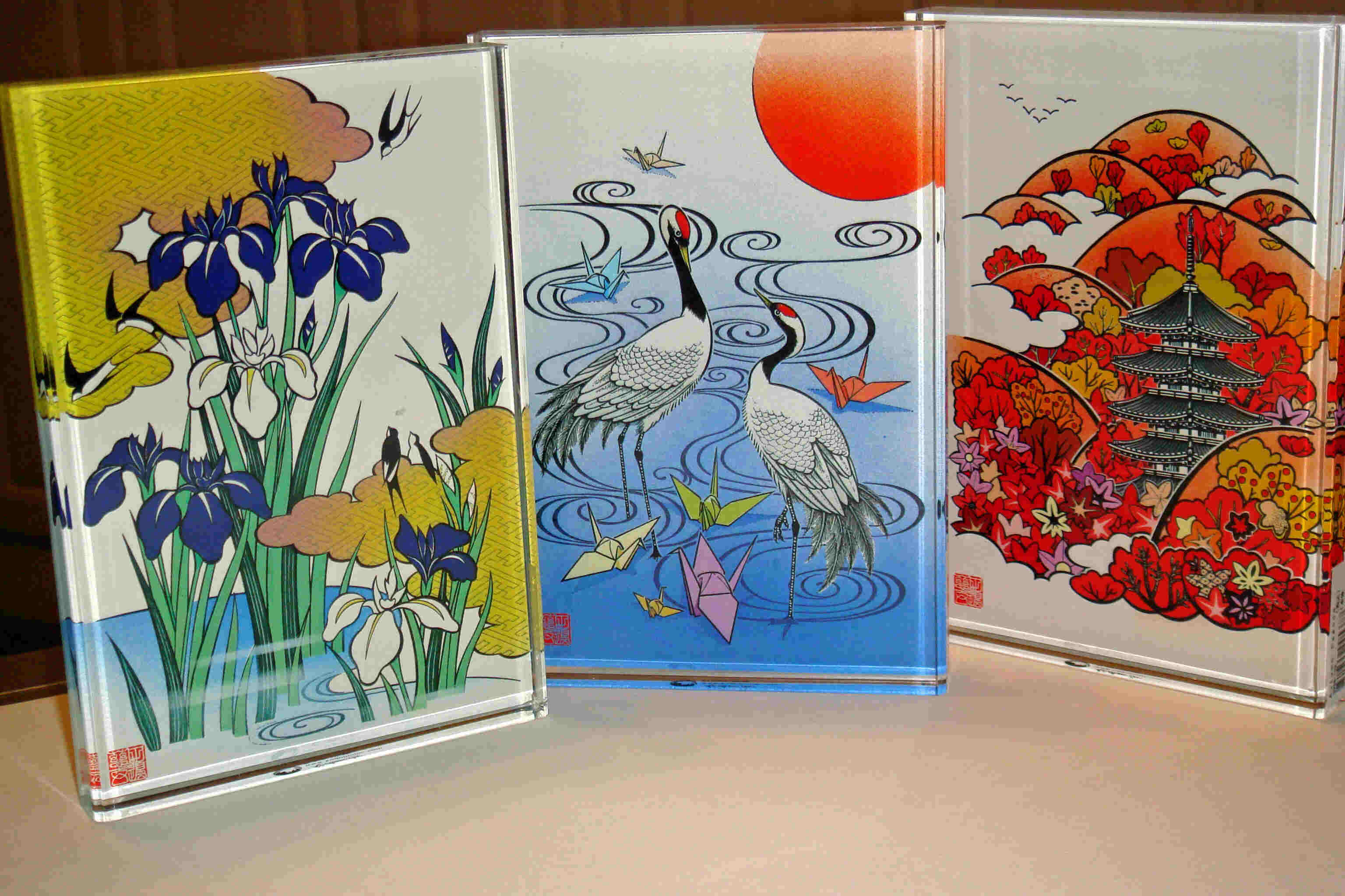 Zigen Tanabe images in beautiful color on acrylic mounts. Shown are Blooming Iris, Folded Cranes, Autumn Pagoda