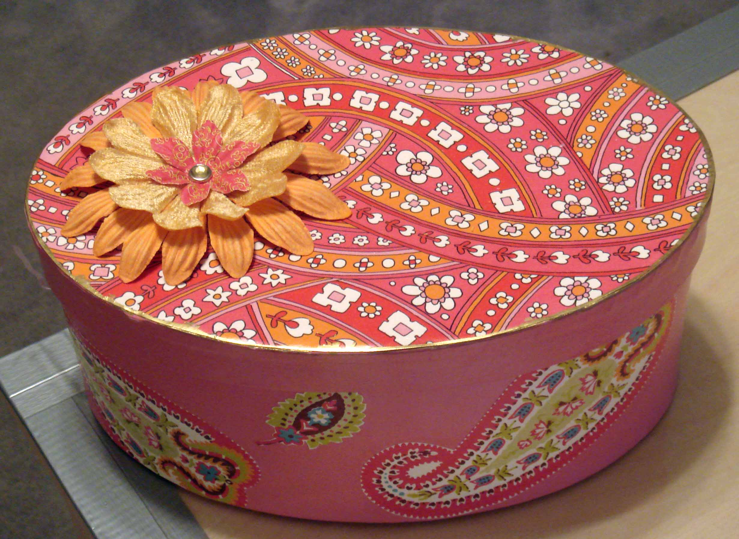 pink oval box top view