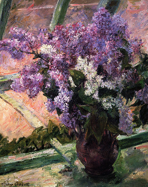 Lilacs in a Window by Mary Cassatt, 1880