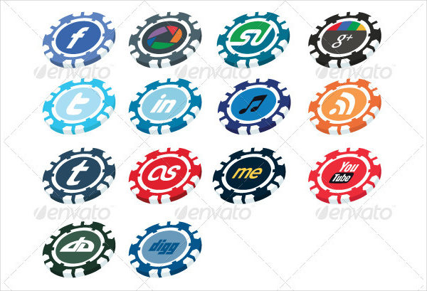 Casino Chip Facebook Buttons