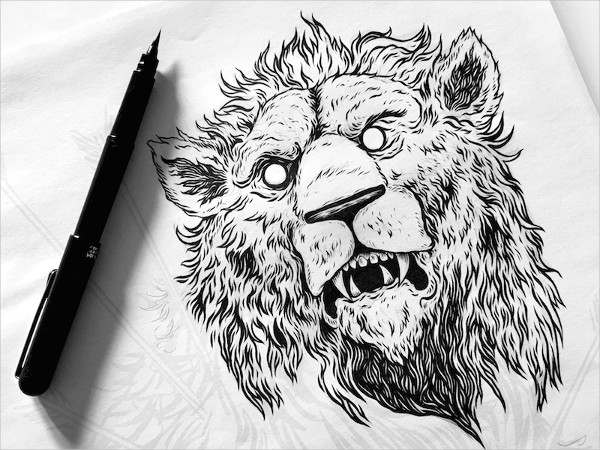 Pen Drawing of Lion