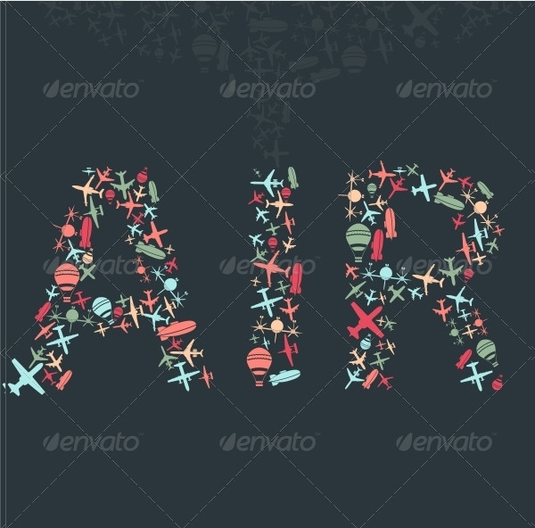Vector Air and Sky Patterns Airplanes Set