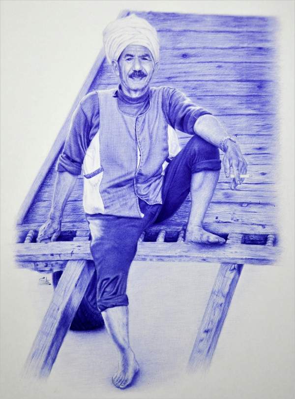 Drawing of Farmer with Ball Pen