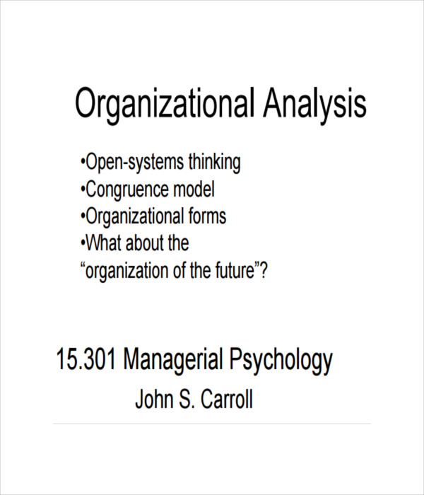 Organizational analysis Template
