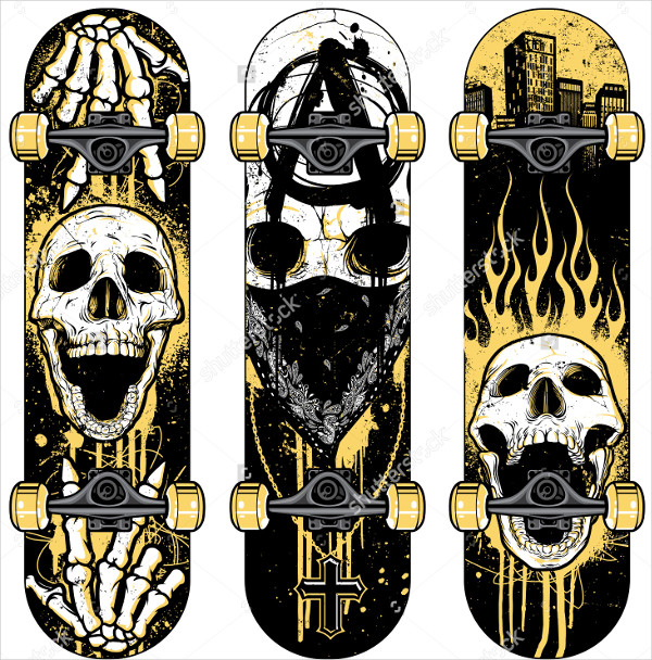 Skull Themed Skateboards Design