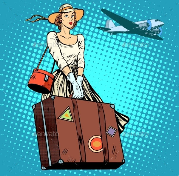 Girl Travels with Suitcase at Airport